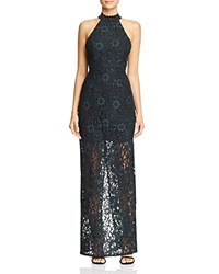 Abs By Allen Schwartz Mock Neck Lace Gown Forest