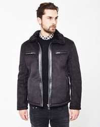 The Idle Man Suede Sherpa Jacket Black