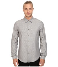 Ben Sherman Long Sleeve Herringbone Spot Woven Shirt Hertiage Grey Men's Long Sleeve Button Up Gray