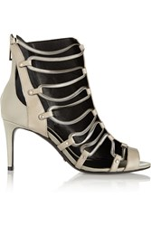 Schutz Embellished Leather And Patent Leather Sandals Nude