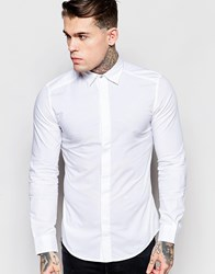 Diesel Shirt S Nap Slim Fit Core Concealed Placket In White