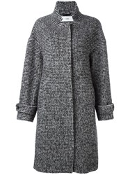 Closed Houndstooth Pattern Coat Black