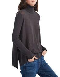 Velvet By Graham And Spencer Turtleneck Long Sleeve Top Charcoal Grey