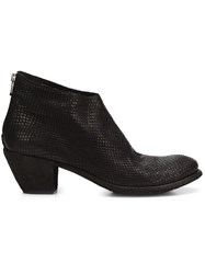 Officine Creative Snakeskin Effect Ankle Boots Black