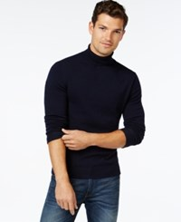 Vince Camuto Ribbed Wool Turtleneck Sweater Navy