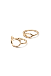Forever 21 Cat And Fish Cutout Ring Set Gold