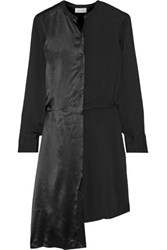 Dkny Asymmetric Paneled Crepe And Satin Shirt Dress Black