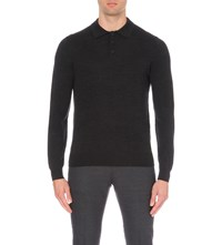 Reiss Mansion Merino Wool Polo Jumper Charcoal Melang