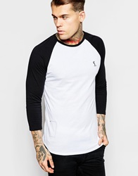 Religion Contrast Raglan 3 4 Length Sleeve Top Whiteblack