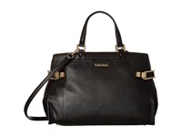 Calvin Klein Pinnacle Pebble Leather Satchel Black Gold Satchel Handbags