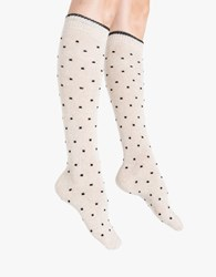 Kali Tipped Pindot Knee Sock Oatmeal