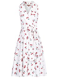 Jolie Moi Retro Print Shawl Collar Dress White