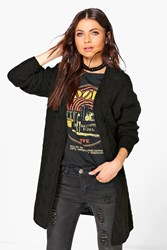 Boohoo Cable Edge Boyfriend Cardigan Black