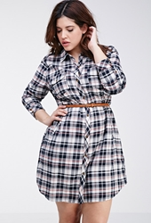 Forever 21 Tartan Plaid Shirt Dress Cream Navy