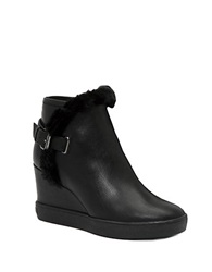 Aquatalia By Marvin K Cameron Leather And Faux Fur Lined Ankle Boots Black