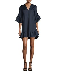 Nicholas Half Sleeve V Neck Cotton Frill Dress Navy