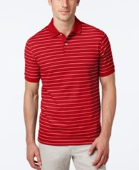 Club Room Men's Big And Tall Performance Uv Protection Striped Polo Cherry Wood