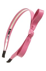 Cara Faux Leather Bow Headband Pink Bright Pink