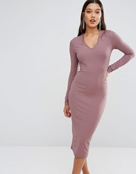 Club L Long Sleeve Ribbed Bodycon Midi Dress With Detachable Cowl Neck Rose Taupe Pink