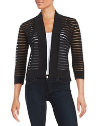 Nipon Boutique Striped Knit Cardigan Black