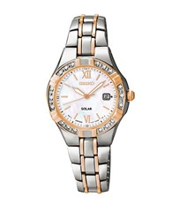 Seiko Ladies Dress Solar Diamond Two Tone Stainless Steel Bracelet Watch
