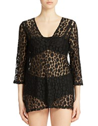 J Valdi Open Knit Cover Up Black