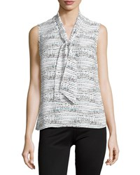 Laundry By Shelli Segal Sleeveless Printed Tie Neck Blouse Warm White
