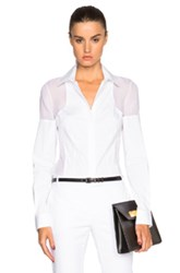 Kaufman Franco Kaufmanfranco Stretch Cotton And Chiffon Blouse In White
