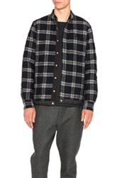 Sacai Plaid Quilted Shirt Jacket In Black Gray Checkered And Plaid