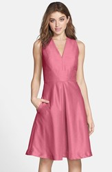 Women's Alfred Sung V Neck Dupioni Cocktail Dress Papaya