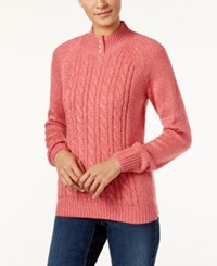 Karen Scott Petite Marled Cable Knit Mock Neck Sweater Only At Macy's Ks Pink Orchid