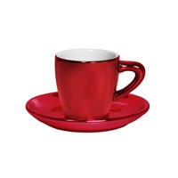 Bialetti Patent Cup And Saucer Twin Pack Shiny Red