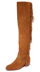 Frye Ray Fringe Over The Knee Boots Camel