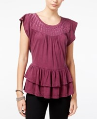 William Rast Raitt Embellished Ruffled Top Grape Wine