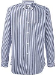 Comme Des Gara Ons Shirt Button Down Collar Striped Shirt Blue