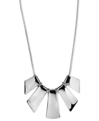 Nine West Necklace Silver Tone Five Plate Frontal Necklace