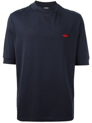 Paul Smith Embroidered Lips T Shirt Blue