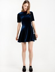 Pixie Market Navy Fit And Flare Mock Neck Dress