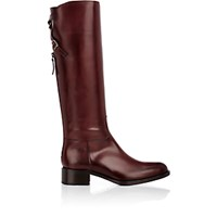 Sartore Women's Crisscross Buckle Strap Knee Boots Burgundy