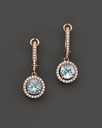 Bloomingdale's Diamond And Aquamarine Drop Earrings In 14K Rose Gold Blue Pink