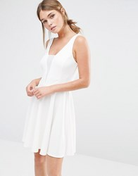 New Look Mesh Insert Scuba Skater Dress White