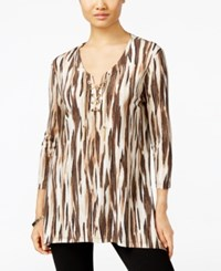 Jm Collection Lace Up Tunic Only At Macy's Neutral