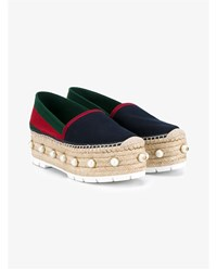 Gucci Pearl Embellished Flatform Espadrilles Blue Pearl Navy Green Red White Denim