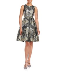Eliza J Metallic Floral Fit And Flare Dress Grey