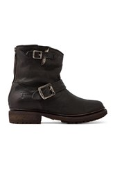 Frye Valerie 6 Motorcycle Lamb Shearling Lined Boot Black