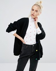Lazy Oaf College Cardigan In Knitted Rib With Bad Habit Back Black
