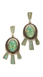 Tory Burch Oxidized Metal Statement Earrings Green Oxidized Gold