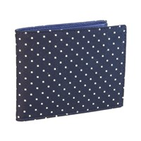 40 Colori Navy White Dotted Silk And Leather Billfold And Coin Wallet Black White