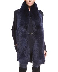 St. John Knit Vest With Detachable Fox Fur Collar Navy Caviar