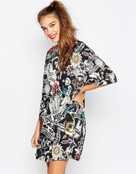 Love Moschino Collage Print Oversized T Shirt Dress Blk Print